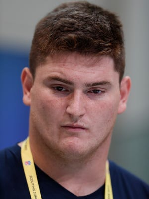 Mar 2, 2017; Indianapolis, IN, USA; Indiana Hoosiers offensive lineman Dan Feeney speaks to the media during the 2017 NFL Combine at the Indiana Convention Center. Mandatory Credit: Brian Spurlock-USA TODAY Sports