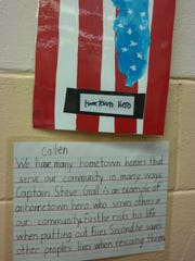 The second-graders wrote thank you notes to their heroes,