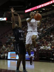 Nicole Ekhomu scoring a layup in Florida State's 109-51 victory over North Florida on Friday night in the Tucker Center.