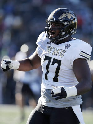 Western Michigan offensive lineman Chukwuma Okorafor seen during the second half of an NCAA college football game against Toledo, Friday, Nov. 24, 2017, in Toledo, Ohio.