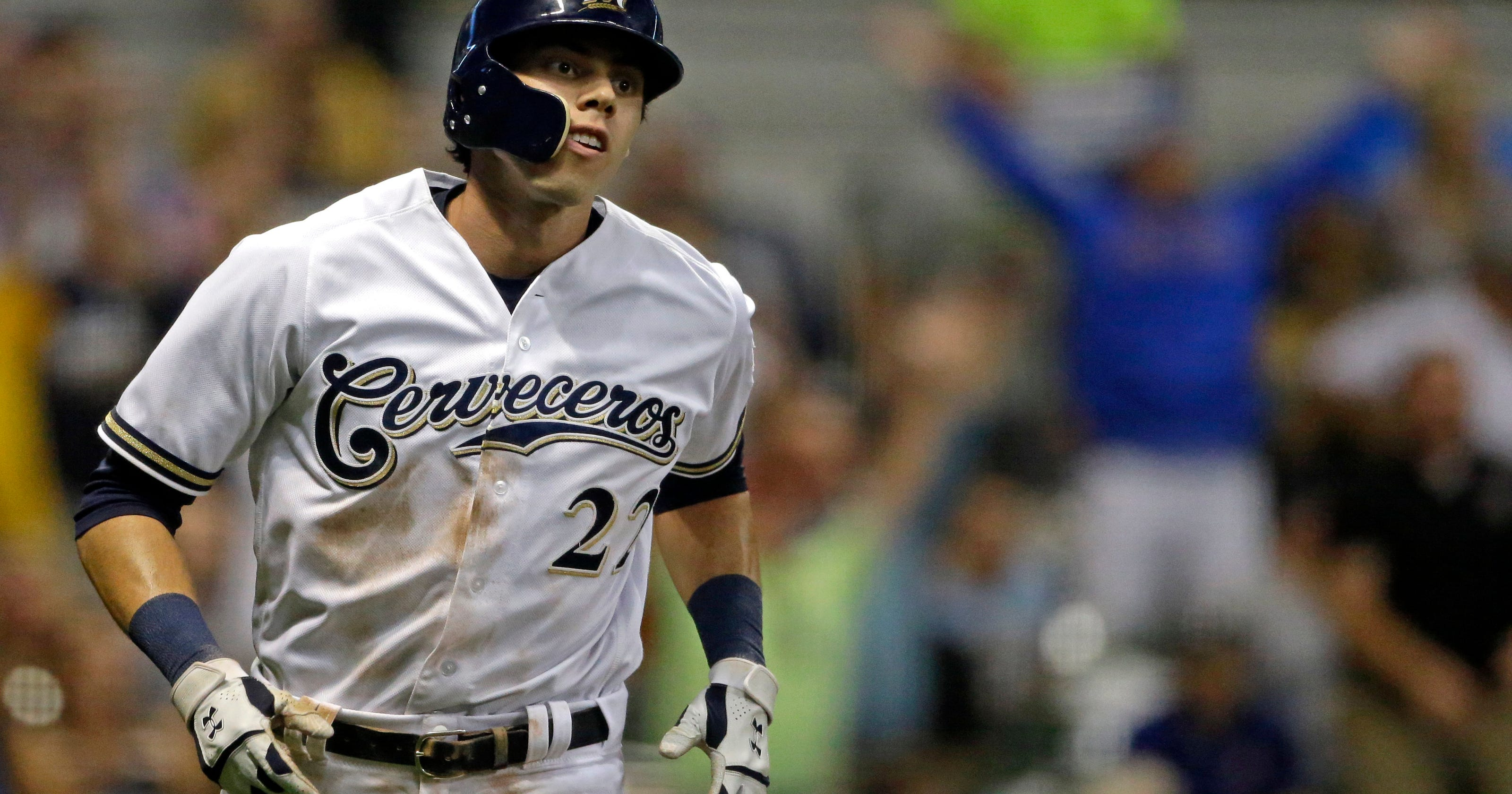 best website 7f6bf 964bc Yelich completes 2nd cycle of season _ both against Reds