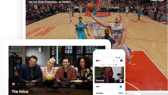 Various devices showing the YouTube TV service, due