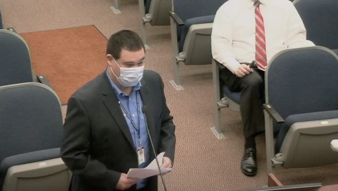 Flagler County Emergency Management Director Jonathan Lord discusses mask resolution at Monday's commission meeting