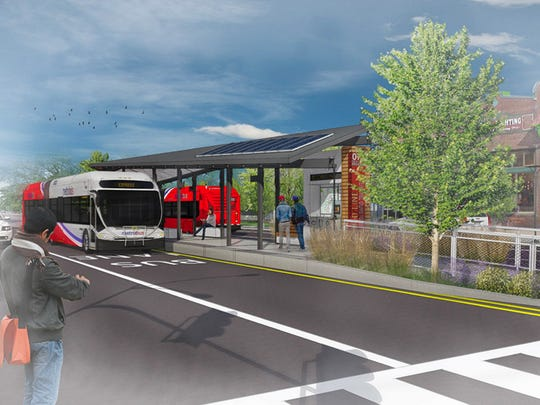 A design by Sean Morrissey was chosen the winner for IndyGo's new Red Line bus rapid transit system. The Red Line is a planned 37.5-mile bus route from Greenwood to Westfield, with dedicated bus lanes and trainlike stations.