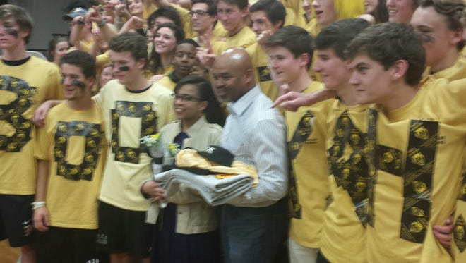 Stuart Scott's family was present Friday for his induction into the R.J. Reynolds athletic hall of fame in Winston-Salem.