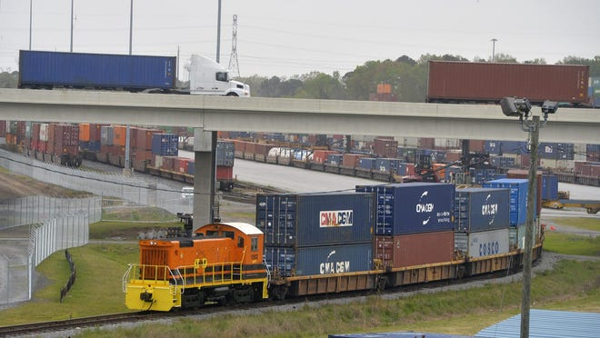 The Mason Mega Rail Terminal at the Georgia Ports Authority in Garden City that doubled the port's rail capacity to 1 million container lifts per year.