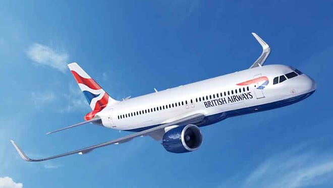 This photo provided by Airbus shows an image of an Airbus A320 in the colors of British Airways.