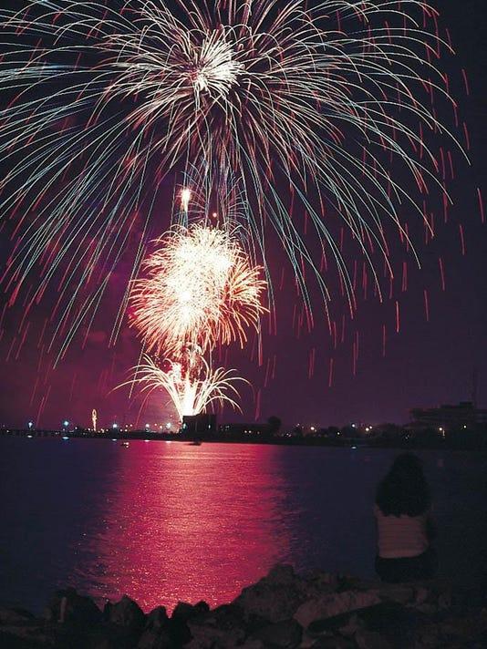 Fireworks over Pensacola Bay