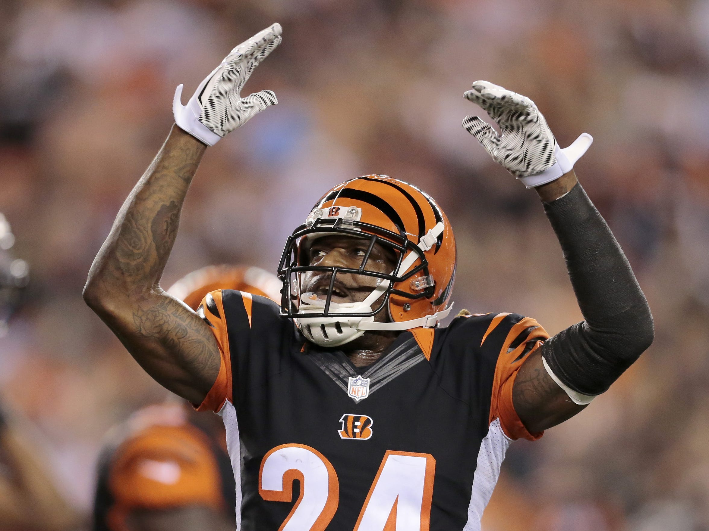 Cincinnati Bengals cornerback Adam Jones (24) hypes