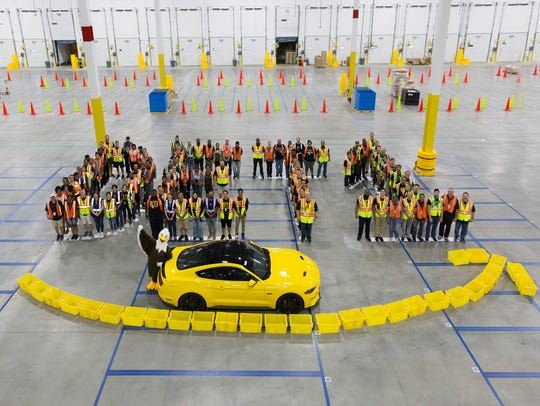 Amazon employees spelled out DET 1 with a 2018 Ford