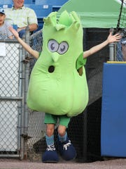 The Wilmington Blue Rocks' Mr. Celery runs onto the field at Frawley Stadium.