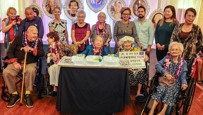 Local centenarians were celebrated at a Senior Citizens Month celebration on Thursday, May 24, 2018, at an event organized by the Department of Public Health and Social Services Division of Senior Citizens. Centenarians were, front row from left: Julian Bryson Wilgus, 99, Shirley Marie Bridler, 99, Josefina Dorotea Yamanaka Blas, 103, Hae Im Yu Shim, 101, and Paz Mendiola Sablan, 100. Families of Julia Blas Sablan and Cesaria Cruz Arce, both 100, also attended the event at Pacific Star Resort & Spa in their places.