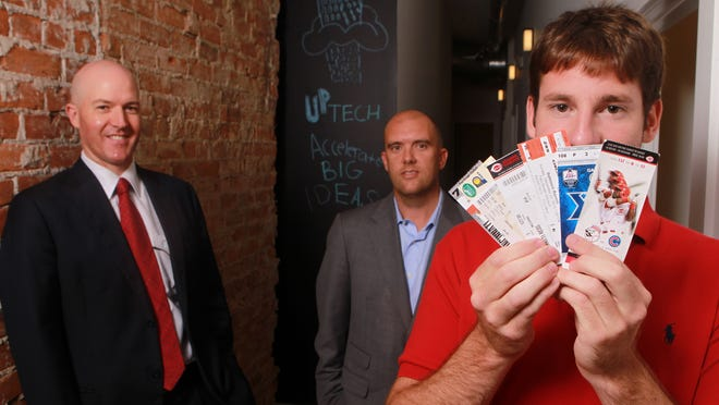 Alex Burkhart, right, is founder and CEO of Tixers. Andrew Sathe, left, and Brad Zapp, are co-fund managers at Up Tech.