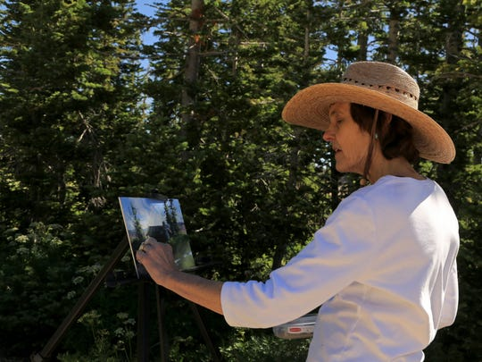 Cedar City pastelist Arlene Braithwaite paints at Cedar Breaks National Monument during the 2016 Arts Afire Plein Air Event.