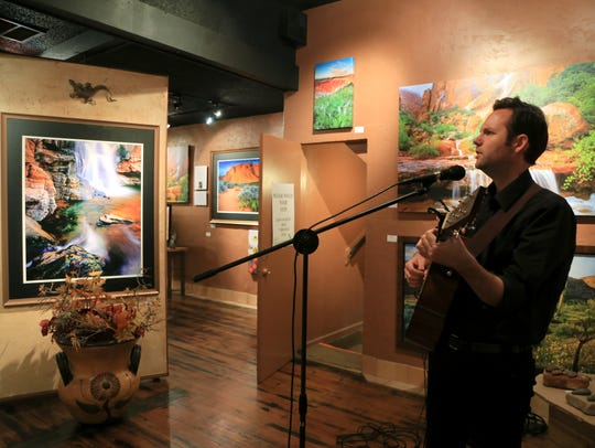 Singer-songwriter Nic Chamberlain performs at the Wide Angle Gallery in St. George during the Art on Main gallery stroll element of the Arts to Zion Art and Studio Tour in this 2018 file photo.
