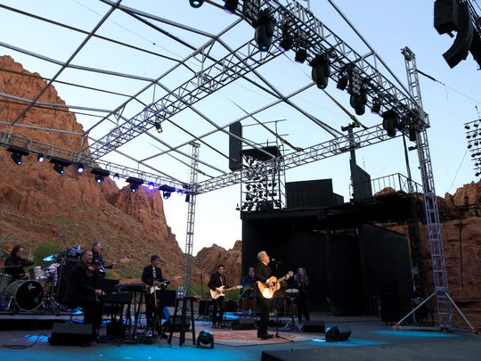Padre Canyon provides a natural backdrop as Peter Cetera and his band perform at Tuacahn Amphitheatre in Ivins City.