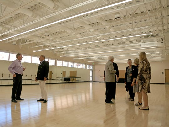 Visitors tour the Entrada Dance Studio on Nov. 4, 2016, after the opening of the new Tuacahn Arts Center in Ivins City.