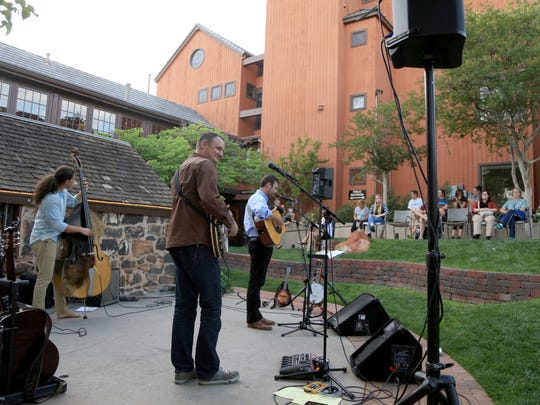 Ryan Sargent, Ryan Tilby and Nic Chamberlain perform during the SUSWA Spring Concert Series at Ancestor Square in St. George.