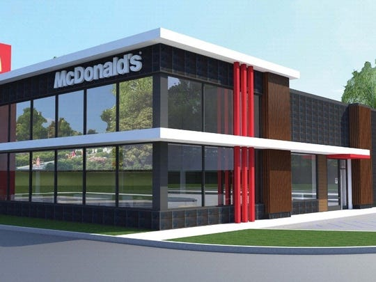 A rendering of the front of the to-be-built McDonald's at 1725 E. Main St. in Richmond.