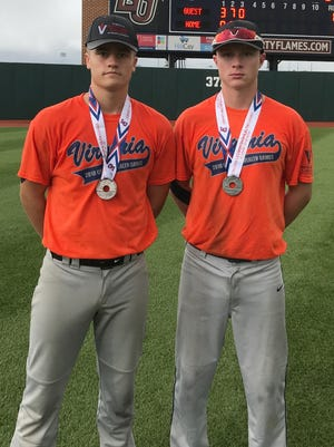 Rising Riverheads juniors Grant Painter, left, and Braeson Fulton have verbally committed to play baseball at James Madison University. Here they pose with the medals they received after helping the West team to a second-place finish in the baseball competition at the Commonwealth Games on Sunday at Liberty University in Lynchburg.
