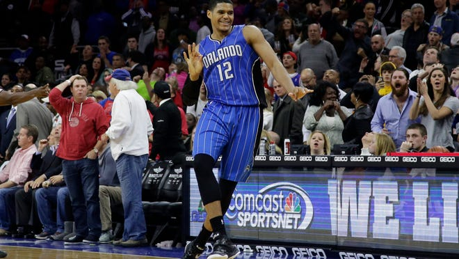 Orlando Magic's Tobias Harris reacts after making the game-winning two-point basket during the final second against the Philadelphia 76ers.
