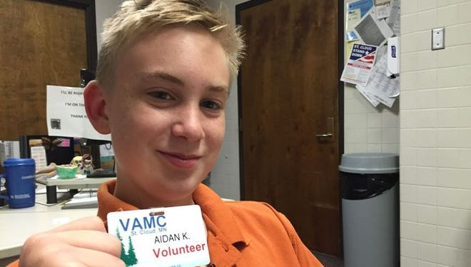 Aidan Knaus started volunteering at the St. Cloud VA Medical Center as soon as he turned 13.