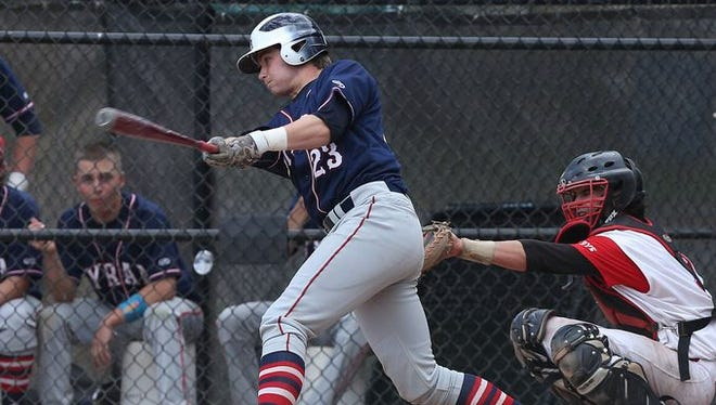 Kevin Wietsma swings as Byram Hills defeated Rye 15-2 in a baseball game at Disbrow Park in Rye May 12, 2015.