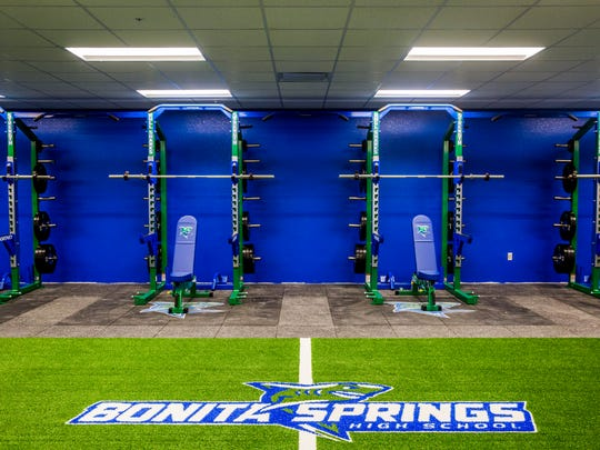 The weight room at the newly constructed Bonita Springs High School on Friday, July 20, 2018. Classes started on Aug. 10.
