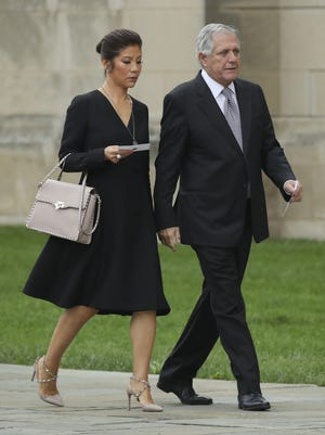 Julie Chen and Les Moonves arrive at the Washington National Cathedral for the memorial service for the late Senator John McCain, Sept. 1, 2018 in Washington, DC.