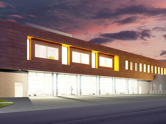 A rendering of the new Johnson County Ambulance and Medical Examiner Facility at night. Provided by OPN Architects.