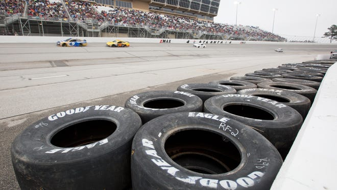 The tire barrier just outside turn 4 during the Folds of Honor QuikTrip 500 at Atlanta Motor Speedway.