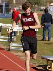 Vernon's Riley Elliott finishes first in the 800 meter run Thursday, March 22, 2018, in the Hirschi Huskies Invitational track meet at Garnett Stadium.