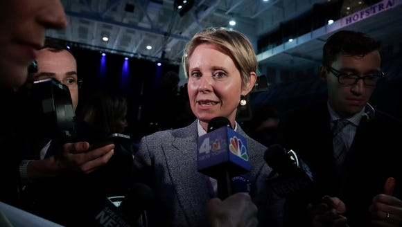 New York gubernatorial nominee Cynthia Nixon, right,
