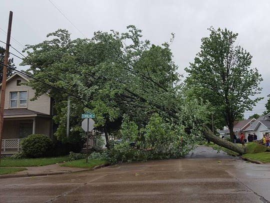 A tree was uprooted by high winds and storms Sunday afternoon and fell on power lines and a house near the corner of Townline Road and Prospect Avenue in Wausau.