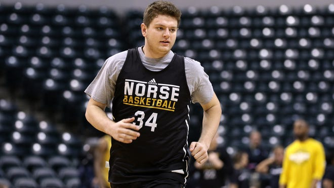 Northern Kentucky University's Drew McDonald during practice at Bankers Life Fieldhouse in Indianapolis Thursday March 16, 2017.