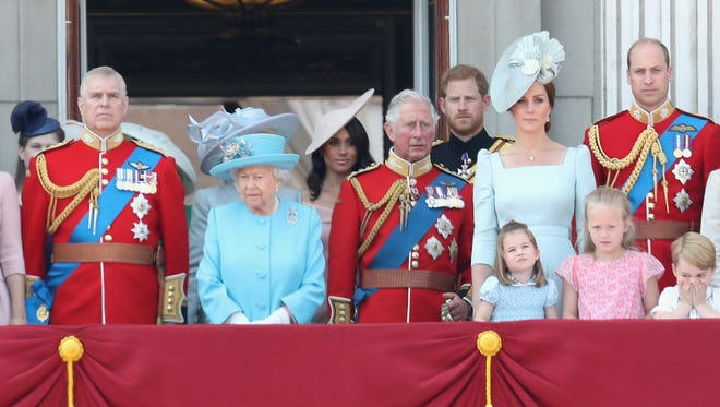 At age 3, Princess Charlotte is getting to be an old hand at royal ritual. She joined the entire royal family on the Buckingham Palace balcony for the annual Trooping the Colour parade on June 9, 2018, standing in this picture with her parents, grandfather Prince Charles, great-grandmother Queen Elizabeth II, uncle Prince Harry and his bride, Duchess Meghan, and her young cousin, Savannah Phillips.