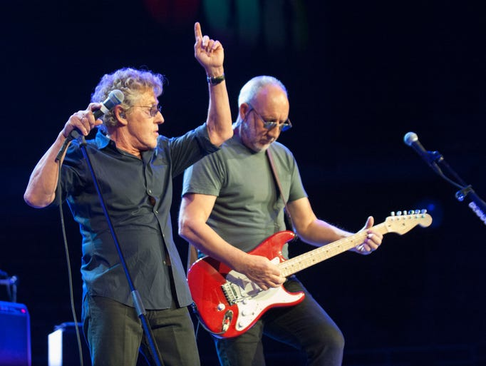 The Who founding members Roger Daltrey (left) and Pete