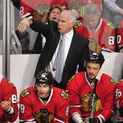 Blackhawks head coach Joel Quenneville shows his displeasure of a disallowed goal during the first period at the United Center.