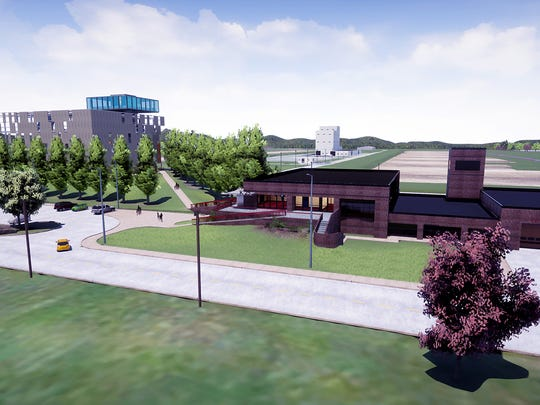 A rendering of the K-25 history center, which will share a building with Oak Ridge Fire Station Number Four on the East Tennessee Technology Park.