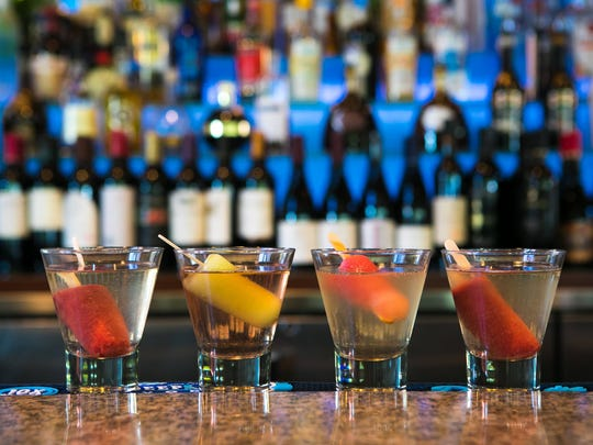 """""""Pop-tails"""" drinks consisting of wine with a house-made popsicle in it at Banks' Seafood Kitchen & Raw Bar on the Riverfront."""
