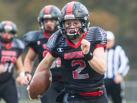 Haddonfield quarterback Jay Foley (2) rushes against Cinnaminson at Cherry Hill West on Nov. 18, 2017.