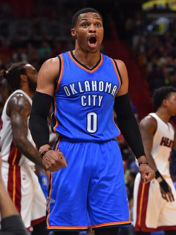 Oklahoma City Thunder guard Russell Westbrook will