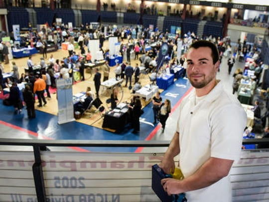 John Jelinski of Keansburg was searching for a job Friday at Monmouth County's spring job fair.
