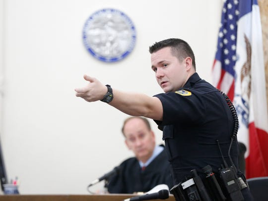 Des Moines Police Officer Sean O'Neill during a 2016 trial involving a man who accused another officer of excessive force.