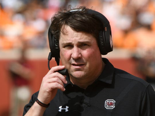 South Carolina Head Coach Will Muschamp watches the game during the first half of a Tennessee vs. South Carolina game at Neyland Stadium in Knoxville, Tenn. Saturday, Oct. 14, 2017.