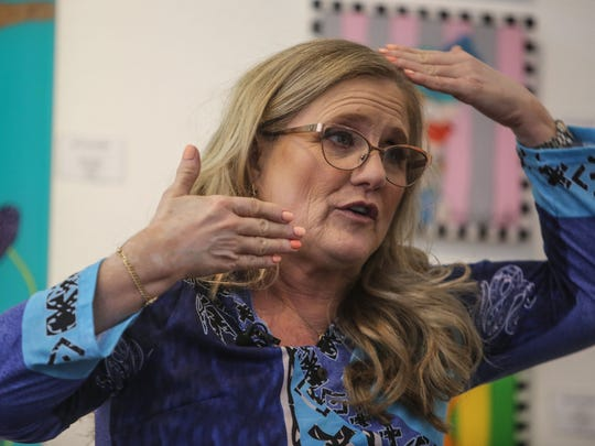 May 4, 2018; Palm Desert, CA, USA;  Actress Nancy Cartwright talks about her art show at D Gallery.