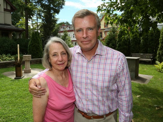 """Alison Crowther and Tom Rinaldi, author of a book about Crowther's son, Welles, """"The Red Bandanna: A life. A choice. A legacy."""" at Grace Church in Nyack Aug. 17, 2016."""