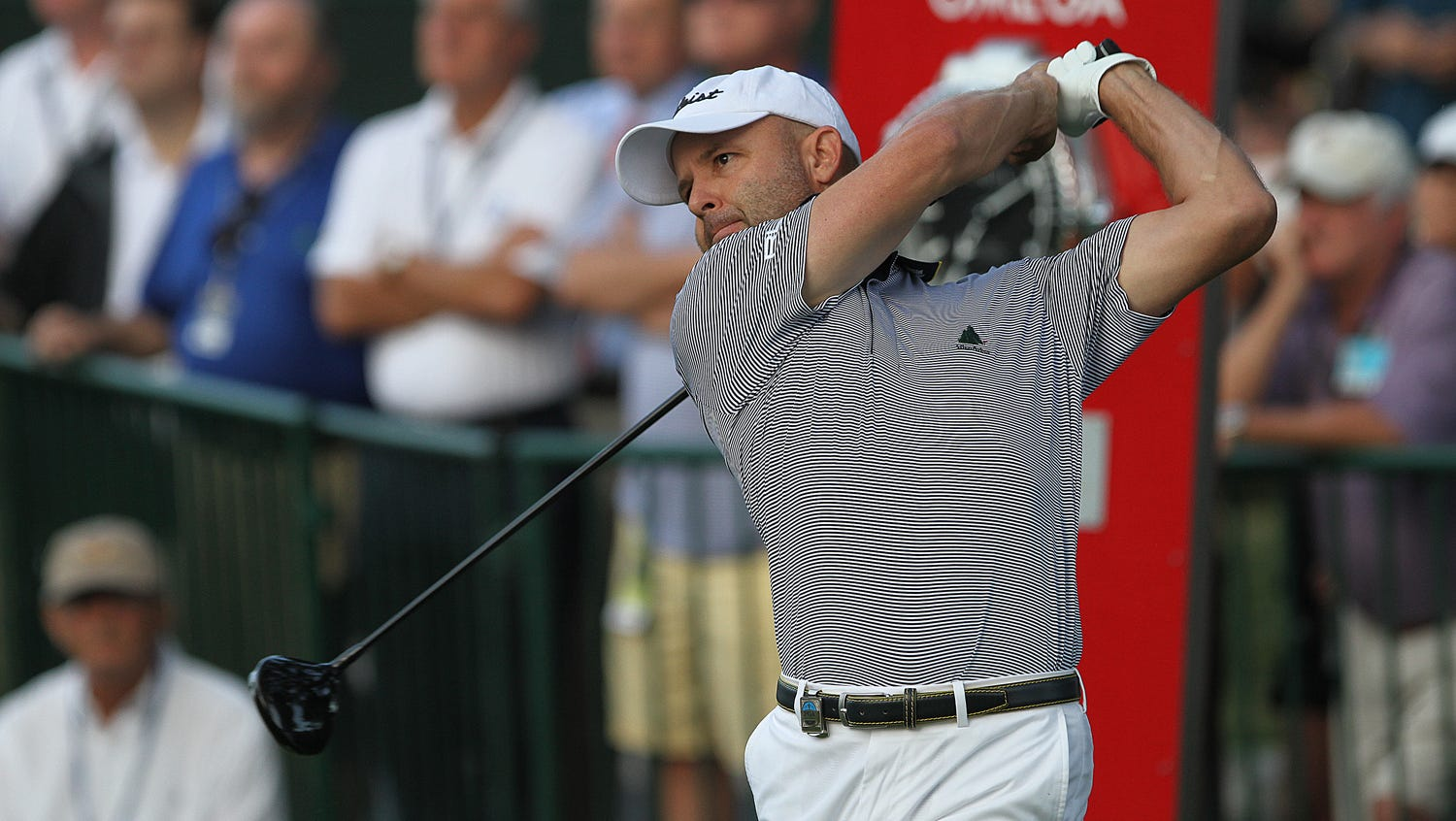 Rob Labritz hits the first ball off the tee at the 95th PGA Championship.