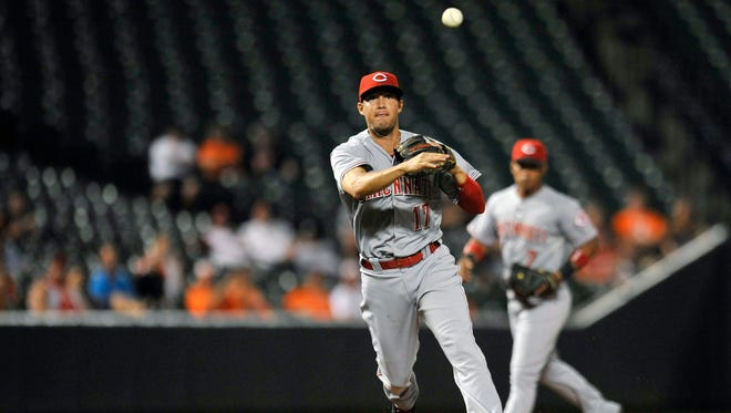 Cincinnati Reds third baseman Kristopher Negron (17) throws over to first base to get out Baltimore Orioles center fielder Adam Jones (not shown) in the second inning at Oriole Park at Camden Yards.
