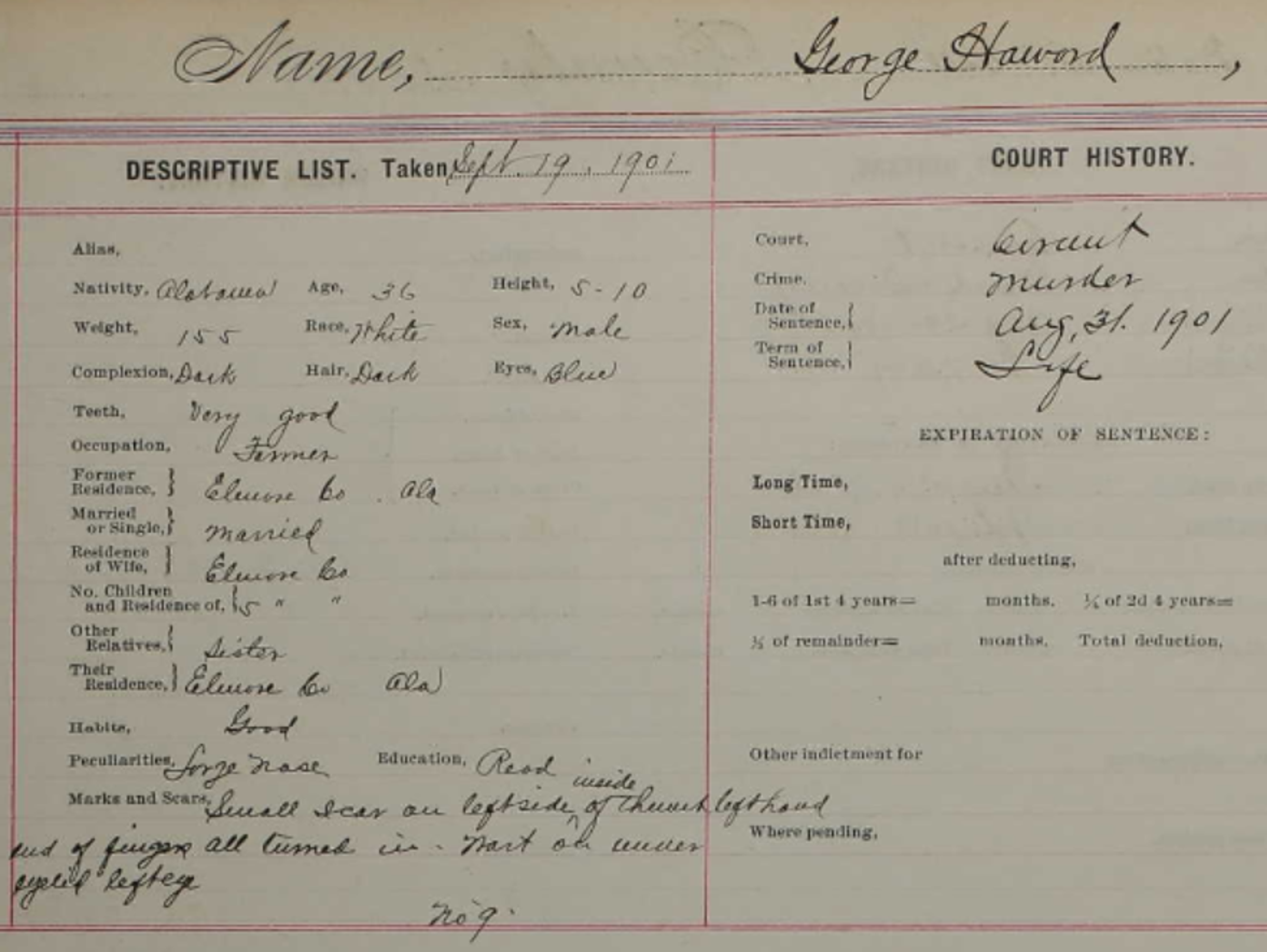"A portion of the convict file for George Howard (spelled ""Hawood"" in the files) shows his life sentence for murder and physical characteristics."